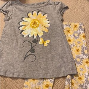 Sunflower matching outfit, girls 4t